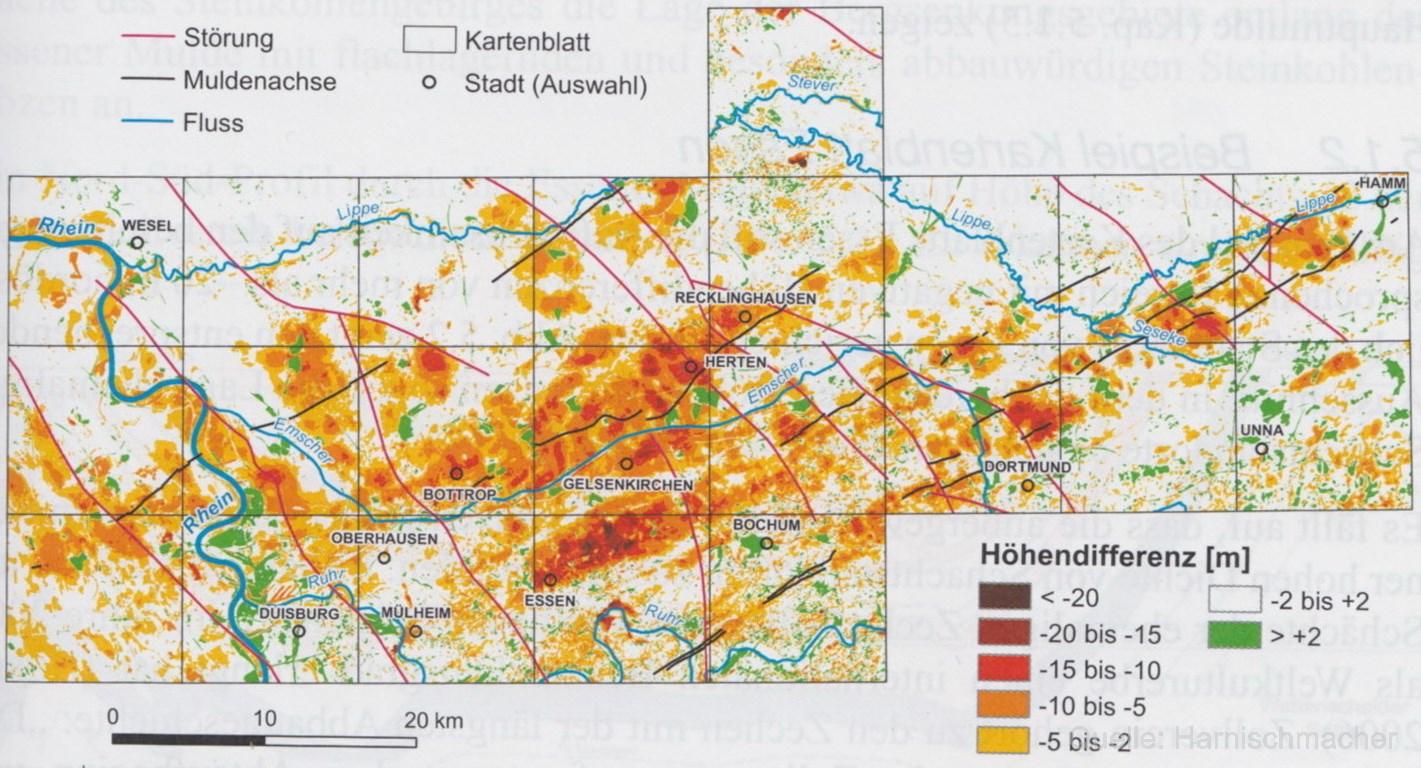 Karte Ruhrgebiet.Bergschäden